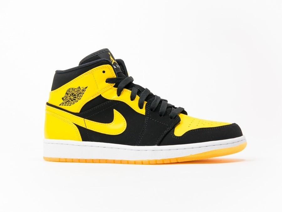 Air Jordan 1 Mid Black-Yellow - 554724-035 - TheSneakerOne