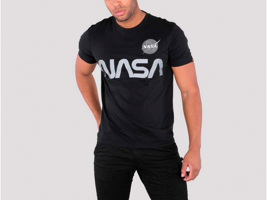 Camiseta Alpha Industries NASA REFLECTIVE Black Tee-178501-03-img-1