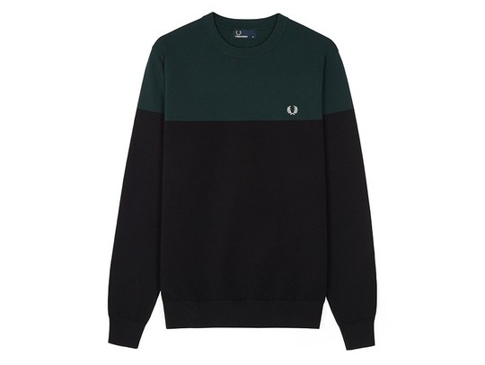 JERSEY FRED PERRY  DOS COLORES NEGRO VERDE-9209-102-img-1