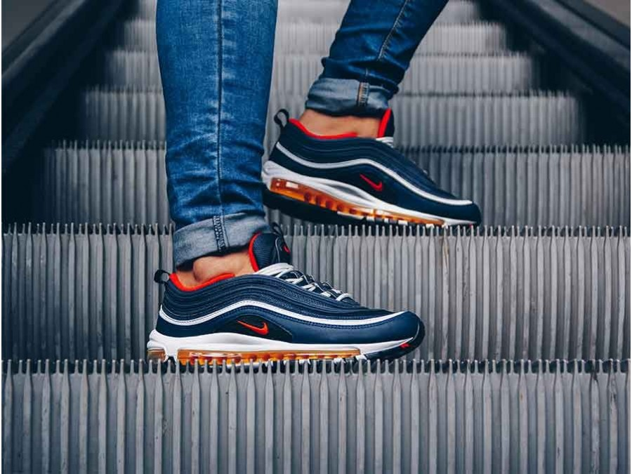 sports shoes 326ef d997f ... NIKE AIR MAX 97 SHOE MIDNIGHT NAVY-HABANERO RED-BL-921826-403 ...