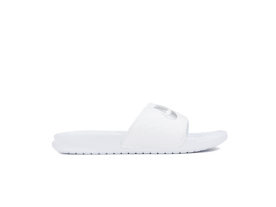 NIKE BENASSI JUST DO IT. SANDAL WOMEN WHITE-METALLIC SILVER-343881-102-img-1