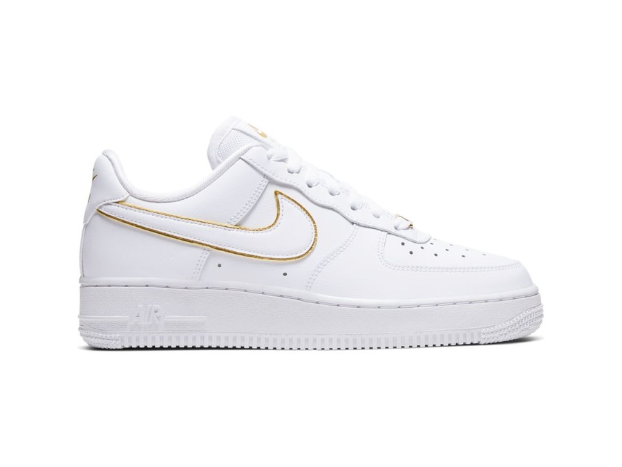NIKE WOMEN AIR FORCE 1 07 ESSENTIAL WHITE WHITE METALLIC GOLD WHITE