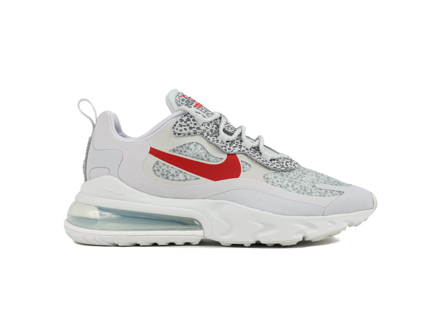 NIKE AIR MAX 270 REACT NEUTRAL GREY UNIVERSITY RED