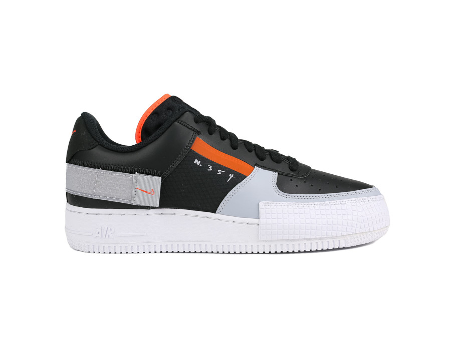 NIKE AIR FORCE 1 TYPE BLACK HYPER CRIMSON-WOLF GREY-WHITE