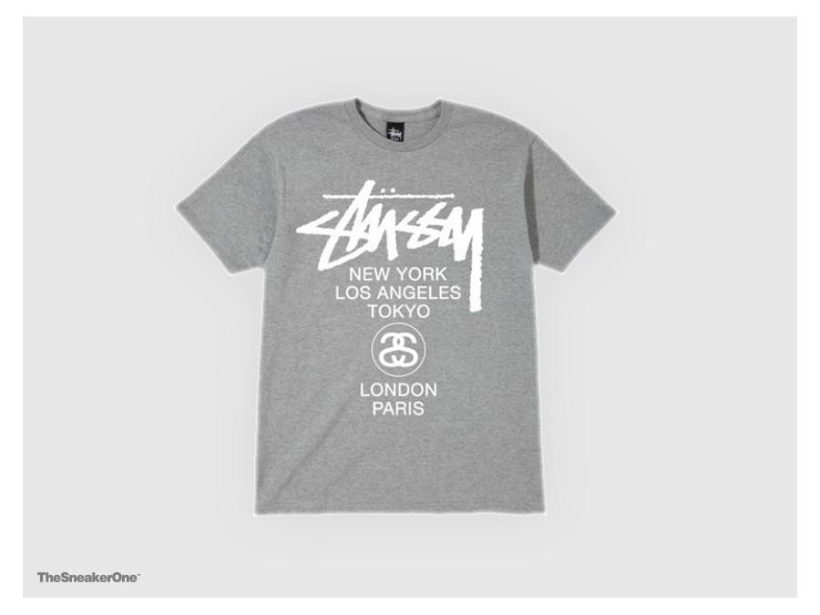 Camiseta Stussy World Tour Tee Gris