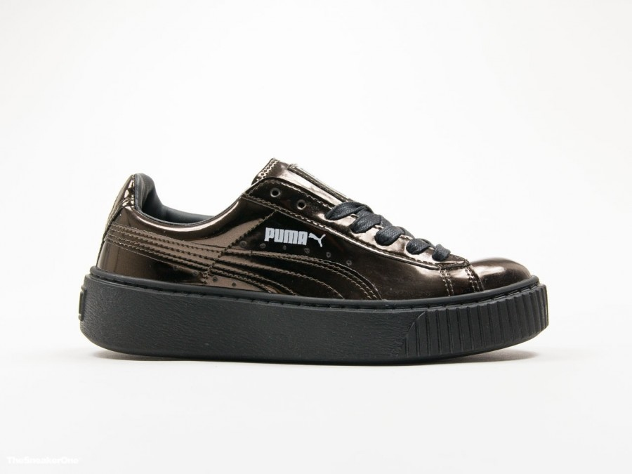 Puma Basket Platform Creepers Metallic Black